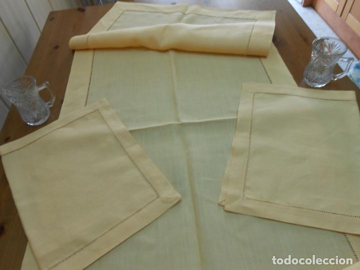 Antigüedades: Mantel tipo camino y tu y yo.Lino puro 100% Color Vainilla 50 x 150 cm + 2 x 30 x 45 cm.Nuevo - Foto 2 - 244202945