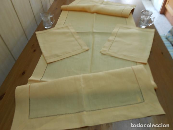 Antigüedades: Mantel tipo camino y tu y yo.Lino puro 100% Color Vainilla 50 x 150 cm + 2 x 30 x 45 cm.Nuevo - Foto 3 - 244202945