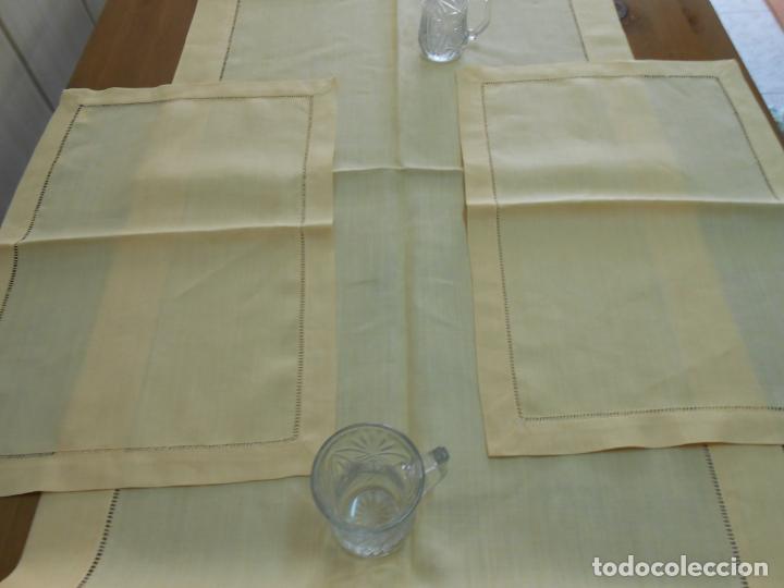 Antigüedades: Mantel tipo camino y tu y yo.Lino puro 100% Color Vainilla 50 x 150 cm + 2 x 30 x 45 cm.Nuevo - Foto 5 - 244202945