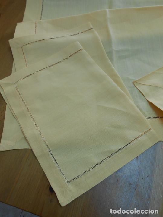 Antigüedades: Mantel tipo camino y tu y yo.Lino puro 100% Color Vainilla 50 x 150 cm + 2 x 30 x 45 cm.Nuevo - Foto 6 - 244202945