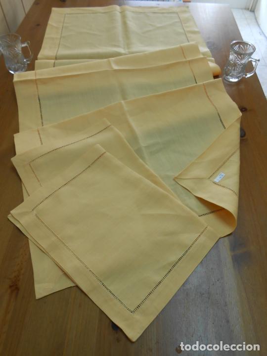 Antigüedades: Mantel tipo camino y tu y yo.Lino puro 100% Color Vainilla 50 x 150 cm + 2 x 30 x 45 cm.Nuevo - Foto 7 - 244202945