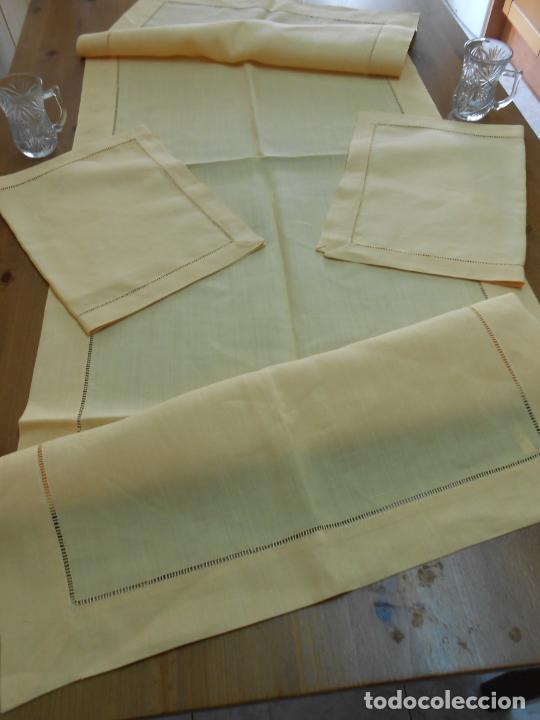 Antigüedades: Mantel tipo camino y tu y yo.Lino puro 100% Color Vainilla 50 x 150 cm + 2 x 30 x 45 cm.Nuevo - Foto 8 - 244202945