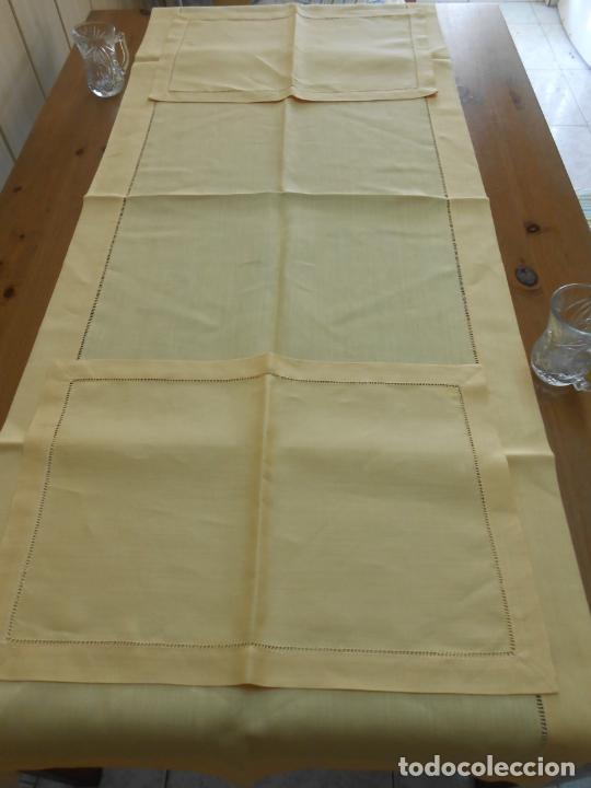 Antigüedades: Mantel tipo camino y tu y yo.Lino puro 100% Color Vainilla 50 x 150 cm + 2 x 30 x 45 cm.Nuevo - Foto 9 - 244202945
