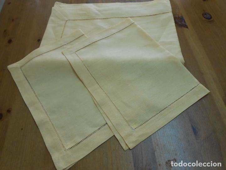 Antigüedades: Mantel tipo camino y tu y yo.Lino puro 100% Color Vainilla 50 x 150 cm + 2 x 30 x 45 cm.Nuevo - Foto 10 - 244202945