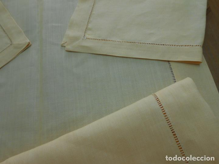 Antigüedades: Mantel tipo camino y tu y yo.Lino puro 100% Color Vainilla 50 x 150 cm + 2 x 30 x 45 cm.Nuevo - Foto 11 - 244202945