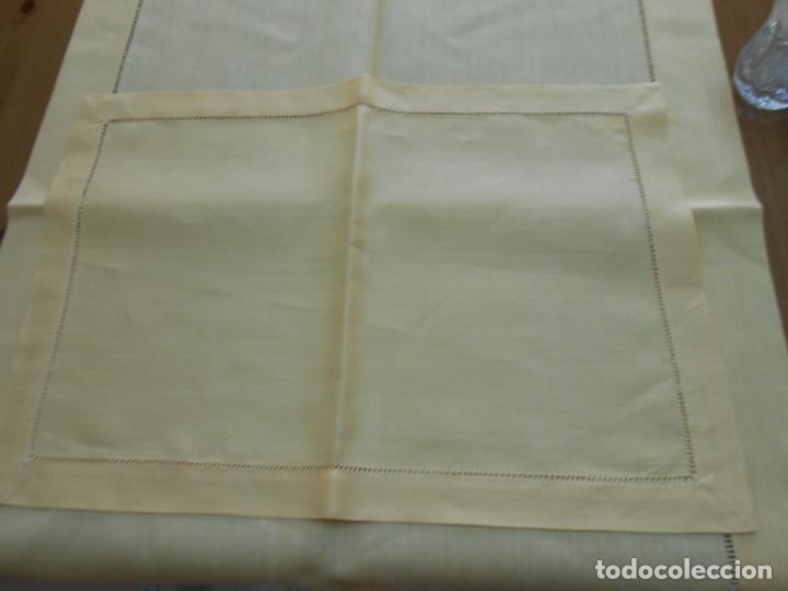 Antigüedades: Mantel tipo camino y tu y yo.Lino puro 100% Color Vainilla 50 x 150 cm + 2 x 30 x 45 cm.Nuevo - Foto 13 - 244202945