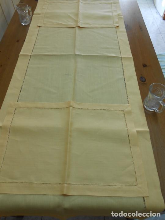 Antigüedades: Mantel tipo camino y tu y yo.Lino puro 100% Color Vainilla 50 x 150 cm + 2 x 30 x 45 cm.Nuevo - Foto 14 - 244202945