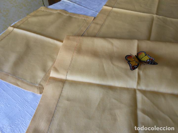 Antigüedades: Mantel tipo camino y tu y yo.Lino puro 100% Color Vainilla 50 x 150 cm + 2 x 30 x 45 cm.Nuevo - Foto 15 - 244202945