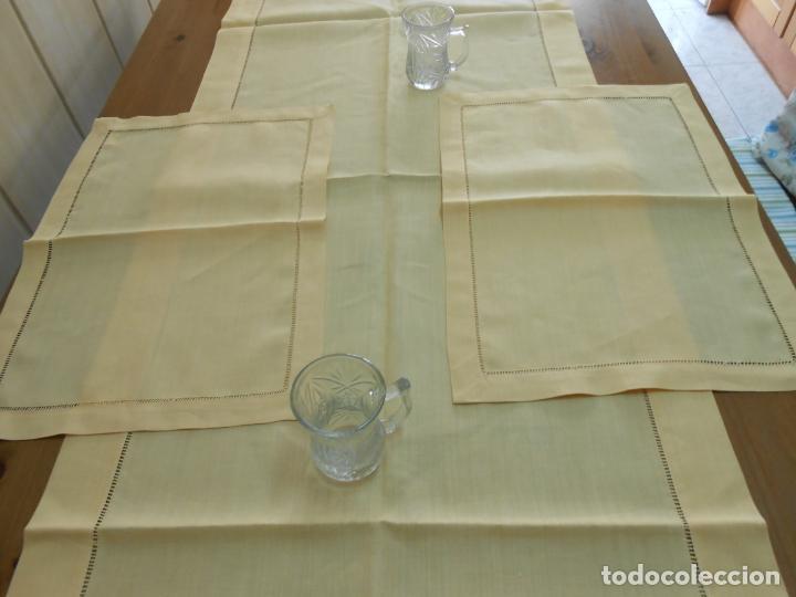 Antigüedades: Mantel tipo camino y tu y yo.Lino puro 100% Color Vainilla 50 x 150 cm + 2 x 30 x 45 cm.Nuevo - Foto 17 - 244202945