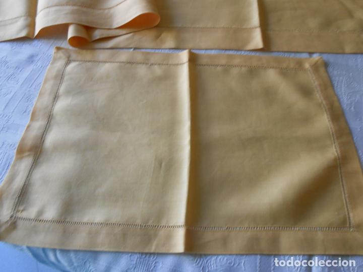Antigüedades: Mantel tipo camino y tu y yo.Lino puro 100% Color Vainilla 50 x 150 cm + 2 x 30 x 45 cm.Nuevo - Foto 19 - 244202945