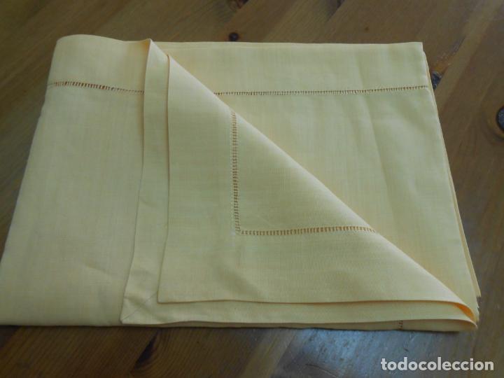 Antigüedades: Mantel antiquo de Lino puro 100% Color Vainilla 100 x 150 cm.Nuevo - Foto 2 - 244379005