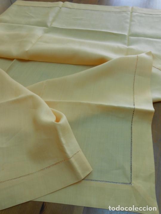 Antigüedades: Mantel antiquo de Lino puro 100% Color Vainilla 100 x 150 cm.Nuevo - Foto 3 - 244379005