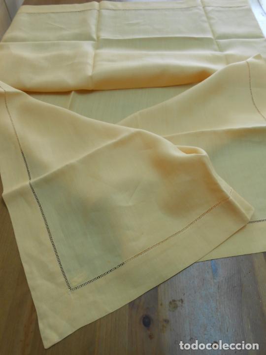 Antigüedades: Mantel antiquo de Lino puro 100% Color Vainilla 100 x 150 cm.Nuevo - Foto 5 - 244379005