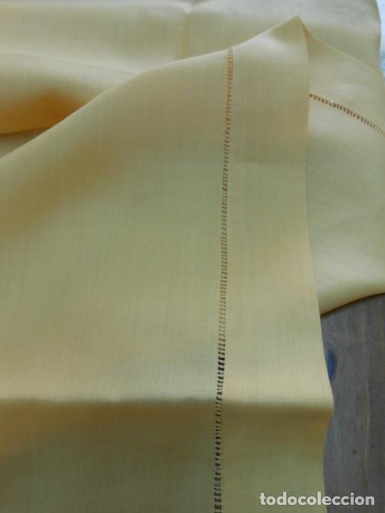 Antigüedades: Mantel antiquo de Lino puro 100% Color Vainilla 100 x 150 cm.Nuevo - Foto 6 - 244379005