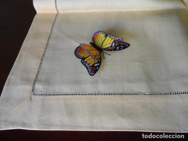 Antigüedades: Mantel antiquo de Lino puro 100% Color Vainilla 100 x 150 cm.Nuevo - Foto 9 - 244379005