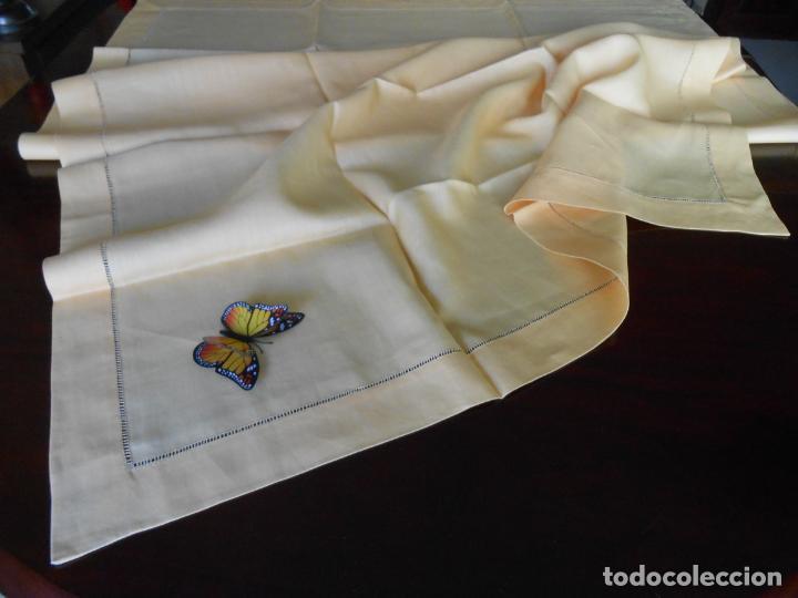 Antigüedades: Mantel antiquo de Lino puro 100% Color Vainilla 100 x 150 cm.Nuevo - Foto 12 - 244379005