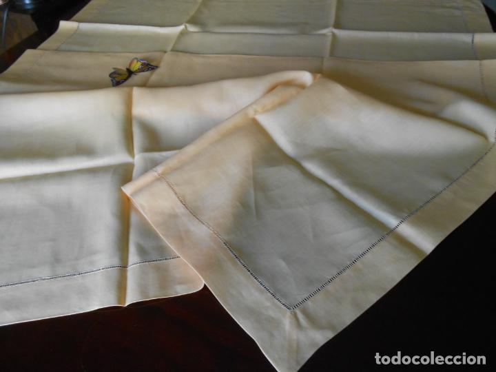 Antigüedades: Mantel antiquo de Lino puro 100% Color Vainilla 100 x 150 cm.Nuevo - Foto 13 - 244379005