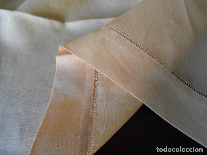 Antigüedades: Mantel antiquo de Lino puro 100% Color Vainilla 100 x 150 cm.Nuevo - Foto 16 - 244379005