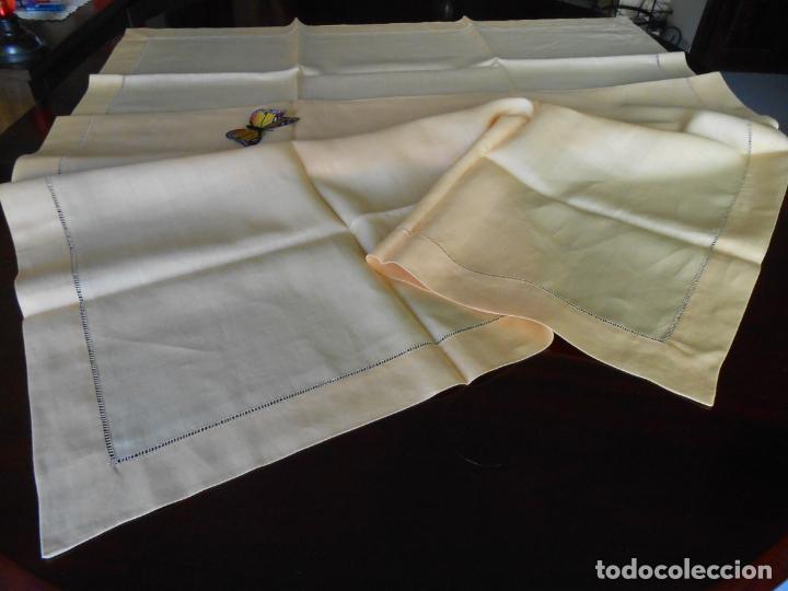 Antigüedades: Mantel antiquo de Lino puro 100% Color Vainilla 100 x 150 cm.Nuevo - Foto 17 - 244379005