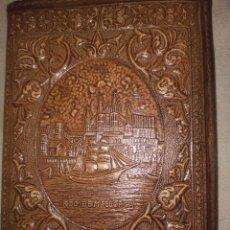 Antigüedades: ANTIGUA PERO NUEVA CARTERA DE PIEL, LABRADA. CON IMAGEN CATEDRAL PALMA DE MALLORCA. Lote 244420485