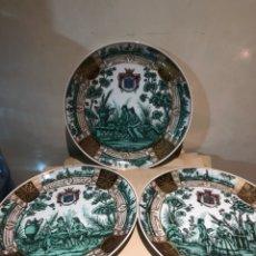 Antigüedades: LOTE DE 3 PLATOS A IDENTIFICAR, MARCADOS. Lote 244440150