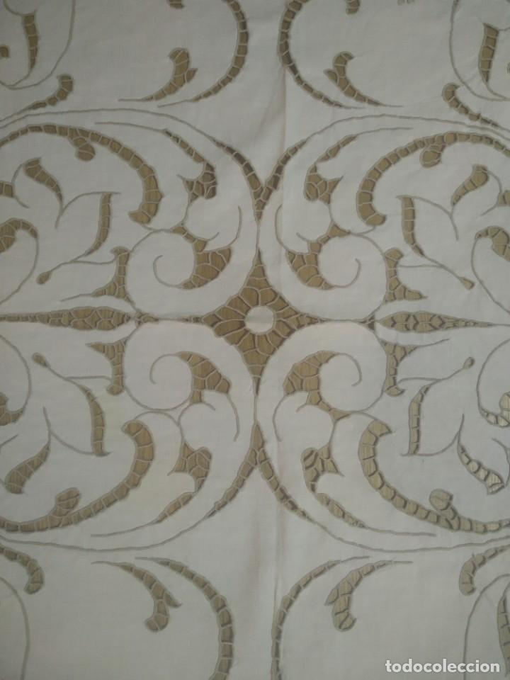 Antigüedades: Mantel bordado canario tipo richelieu - Foto 4 - 244447235