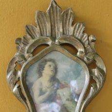 Antigüedades: CORNUCOPIA CON LAMINA, EN MADERA CON PAN DE ORO, SIGLO XX. Lote 244468360