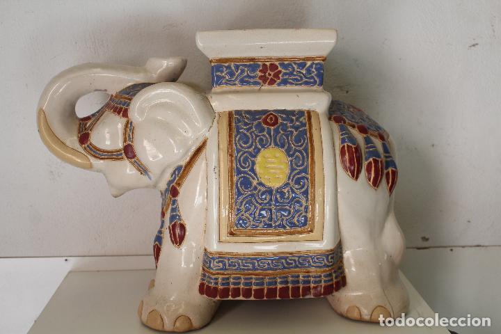 Antigüedades: Elefante Azul y Blanco Porcelana China Estatua De Jardín Taburete Jardinera - Foto 3 - 244481140