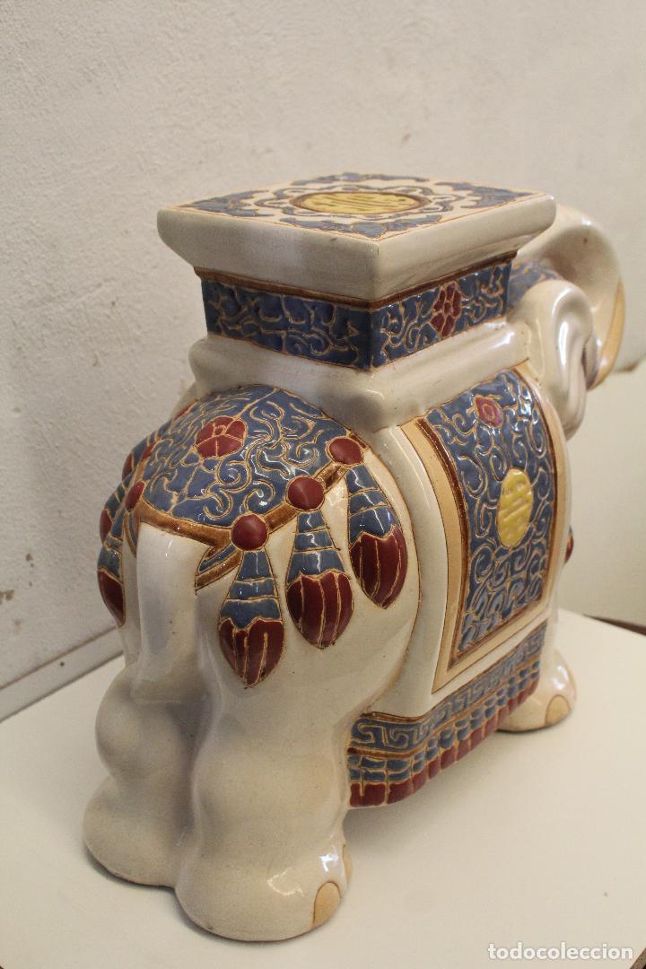 Antigüedades: Elefante Azul y Blanco Porcelana China Estatua De Jardín Taburete Jardinera - Foto 4 - 244481140