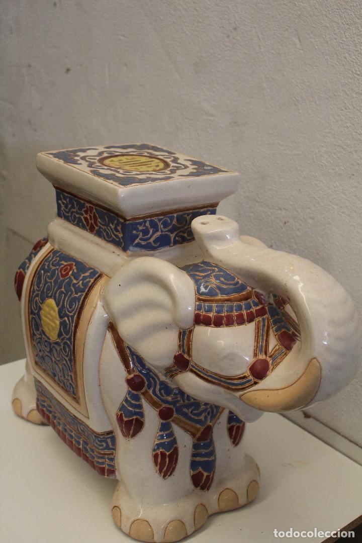 Antigüedades: Elefante Azul y Blanco Porcelana China Estatua De Jardín Taburete Jardinera - Foto 5 - 244481140