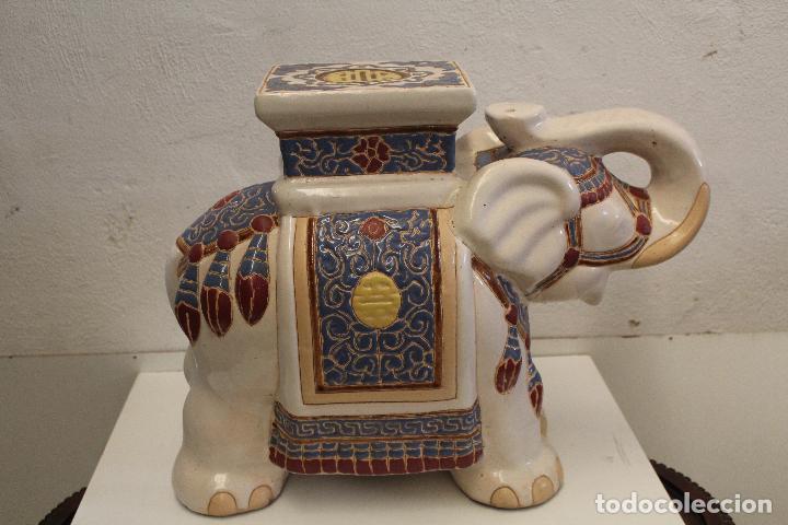 Antigüedades: Elefante Azul y Blanco Porcelana China Estatua De Jardín Taburete Jardinera - Foto 6 - 244481140