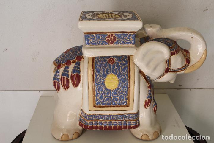 Antigüedades: Elefante Azul y Blanco Porcelana China Estatua De Jardín Taburete Jardinera - Foto 7 - 244481140