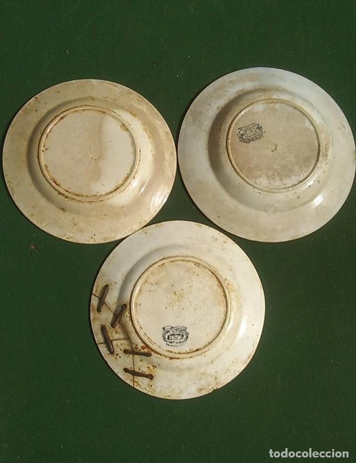 Antigüedades: PLATOS ANTIGUOS DE CERAMICA DE CARTAGENA MOTIVOS DE CAZA DE 20 CMS. DIAMETRO UNO LAÑADO - Foto 5 - 244496160