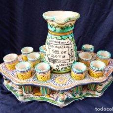 Antigüedades: ESPECTACULAR JUEGO DE JARRA CON VASOS. Lote 244496630