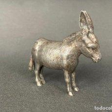 Antigüedades: BURRO DE PLATA DE LEY CONTRASTADO CON ESTRELLA . MINIATURA. Lote 244500835