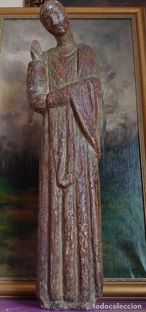 TALLA DE MADERA ROMANICA SAN JUAN APOSTOL SIGLO XIII 69CM (Antigüedades - Religiosas - Varios)