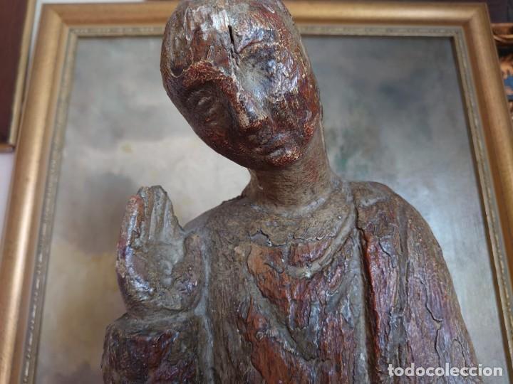 Antigüedades: TALLA DE MADERA ROMANICA SAN JUAN APOSTOL SIGLO XIII 69CM - Foto 2 - 244507565