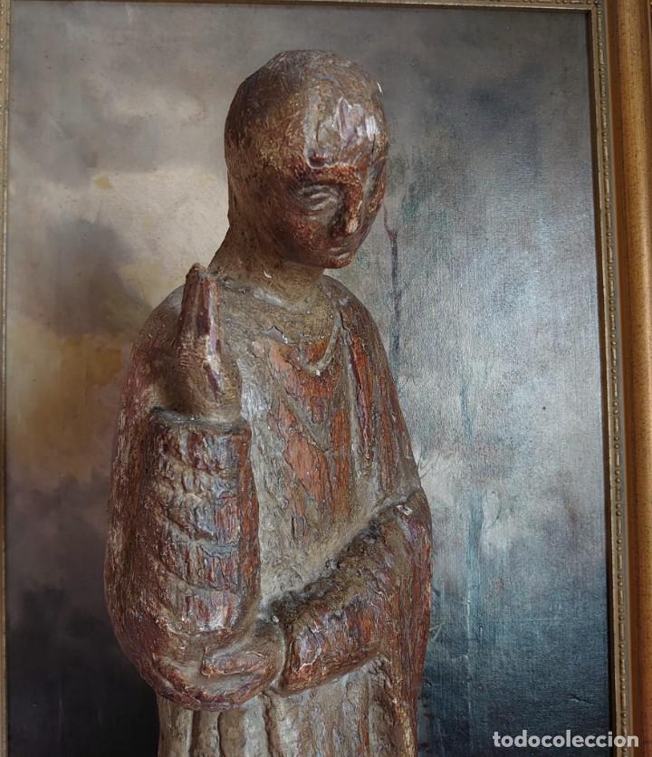 Antigüedades: TALLA DE MADERA ROMANICA SAN JUAN APOSTOL SIGLO XIII 69CM - Foto 4 - 244507565