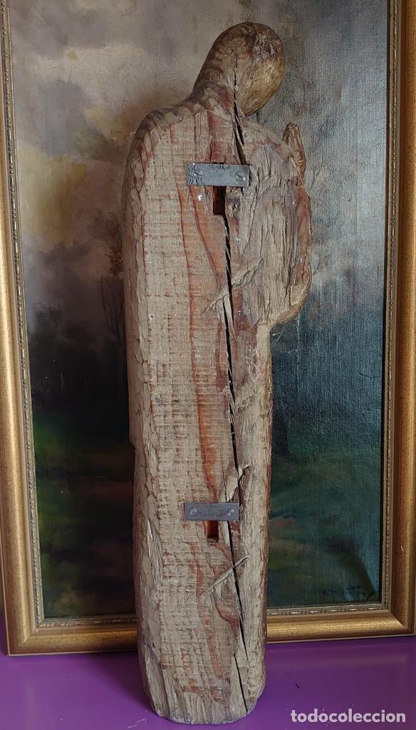 Antigüedades: TALLA DE MADERA ROMANICA SAN JUAN APOSTOL SIGLO XIII 69CM - Foto 6 - 244507565