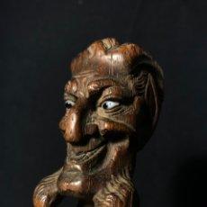 Antigüedades: EMPUÑADURA DE BASTÓN. DEMONIO, CABEZA GROTESCA. FINALES S. XIX.. Lote 244601575