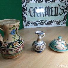 Antigüedades: TRES FIGURAS DE CERAMICA ANTIGUA MUYY BELLAS, IDEAL JARDIN O CASA RURAL. Lote 244627005
