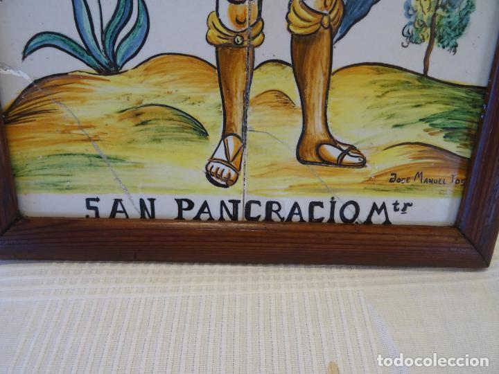 Antigüedades: Mide 50 cmts. Panel azulejos San Pancracio Martir. Jose Manuel Tos. Denia - Foto 4 - 244672730
