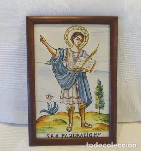 MIDE 50 CMTS. PANEL AZULEJOS SAN PANCRACIO MARTIR. JOSE MANUEL TOS. DENIA (Antigüedades - Porcelanas y Cerámicas - Azulejos)