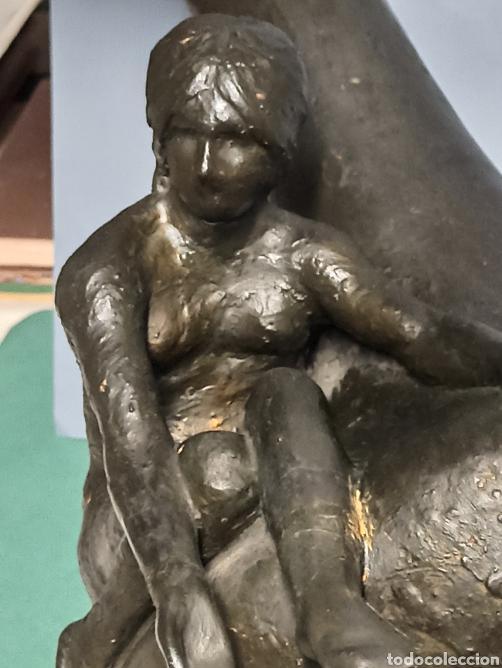 Antigüedades: Arte cerámico Jarrón Escultura Art Nouveau Mujer desnuda sentada Terracota Patinada 46 cm y +7 kilos - Foto 5 - 244697665