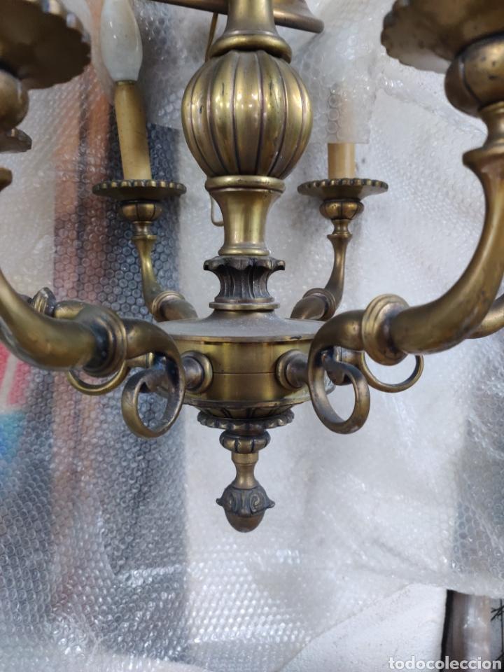 Antigüedades: Lampara de bronce antigua de seis brazos de principios s. XX - Foto 5 - 244724715