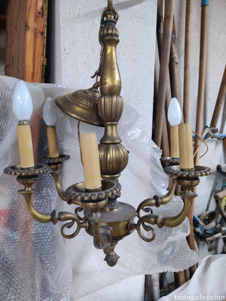 Antigüedades: Lampara de bronce antigua de seis brazos de principios s. XX - Foto 6 - 244724715