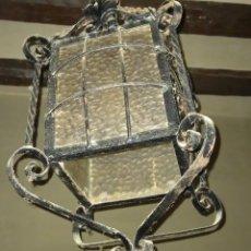 Antigüedades: FAROL MODERNISTA DE HIERRO FORJADO Y CRISTAL GRANDES MEDIDAS SIGLO XIX. Lote 244725815