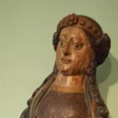Antigüedades: XVI ANTIGUA ESCULTURA TALLA DE VIRGEN DE MADERA POLICROMADA ESCUELA GALLEGA DEL SIGLO XVI. Lote 244751065