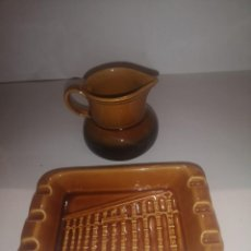Antigüedades: JARRA Y CENICERO CERÁMICA. Lote 244773340