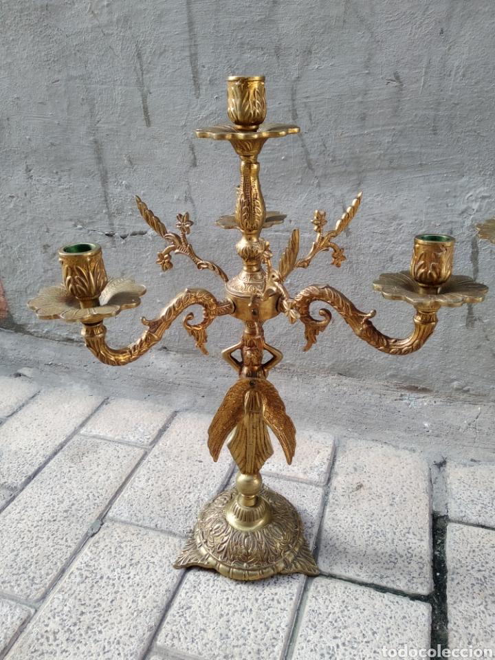 Antigüedades: Candelabros bronce pareja - Foto 4 - 244775840